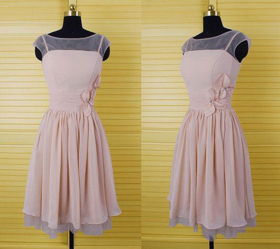Hd08215 Charming Homecoming Dress,Chiffon Homecoming Dress,Flower Homecoming Dress,O-Neck Homecoming Dress