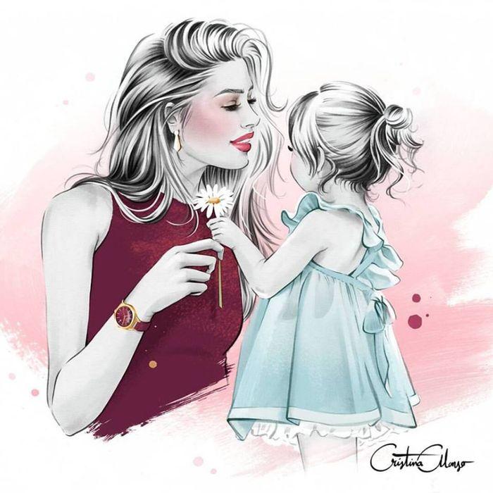 Картинки мамы и дочки с любовью нарисованные с надписями, открытка евгения днем