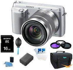 Review Cheap Sony NEX-F3K/S NEX-F3KS NEXF3KS NEXF3K NEX-F3K 16.1 MP Compact System Camera with 18-55mm Lens (Silver) ULTIMATE Bundle with Sony 16GB High Speed Card, Deluxe Filter Kit, Spare Battery, Padded Case + More