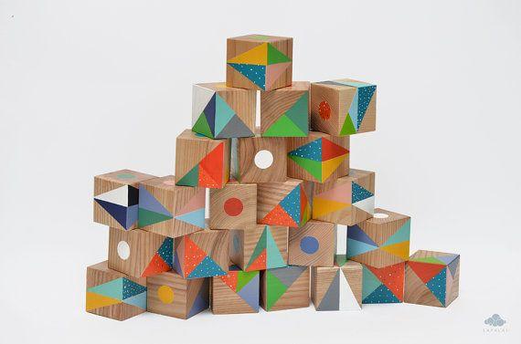 25 Artistic handmade wooden blocks set Unique author's by Lapalai