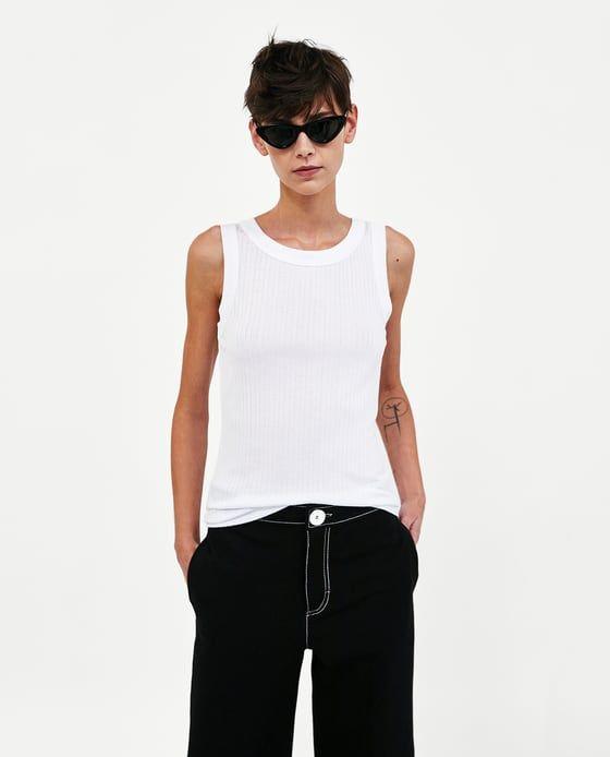 Image 4 of RIBBED TANK TOP from Zara  3c626e42496