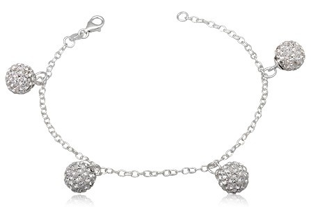 Sterling Silver Swarovski Clear Crystal Ball Bracelet.  Do you prefer a different Colour or Larger Smaller Crystal Balls email me your colour choice. Make it a matching set. www.jas-designs.com