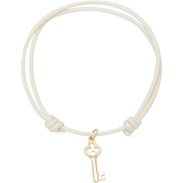 With Love Darling Key to My Heart 18K Gold Cord Bracelet ($300) ❤ liked on Polyvore featuring jewelry, bracelets, white, rope bracelet, heart charm, gold heart pendant, gold charms and gold heart charm