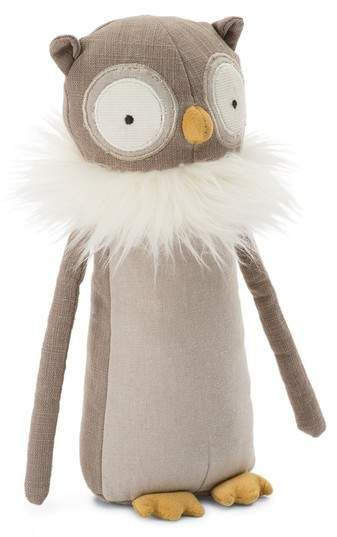 Jellycat Skandoodle Owl Stuffed Animal  A wise look and a soft, fluffy collar give this stuffed owl best-friend status for curling up in a corner with a book or sharing whispered secrets. Style Name:Jellycat Skandoodle Owl Stuffed Animal.