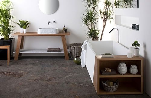 i think the basin is a tad low, but I like white and timber