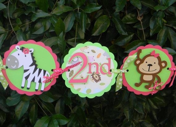 Jungle/Safari Birthday Banner Pink and Green