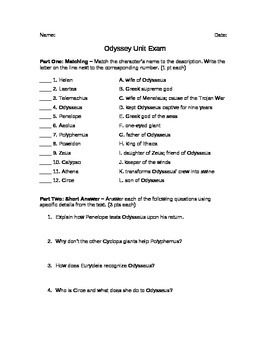 This unit exam based on The Odyssey by Homer includes matching, short answer, and essay questions.