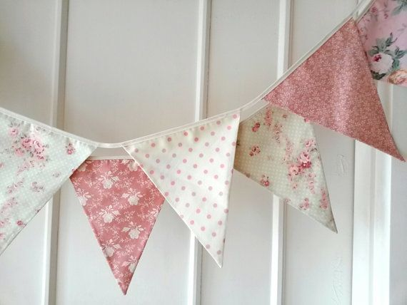 Pastel Shabby Chic Fabric Banners, Bunting, Garland, Wedding ...