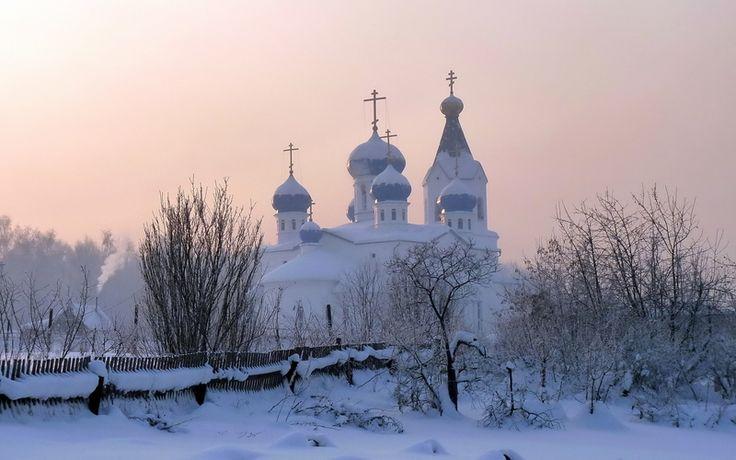 церковь, Зима, снег