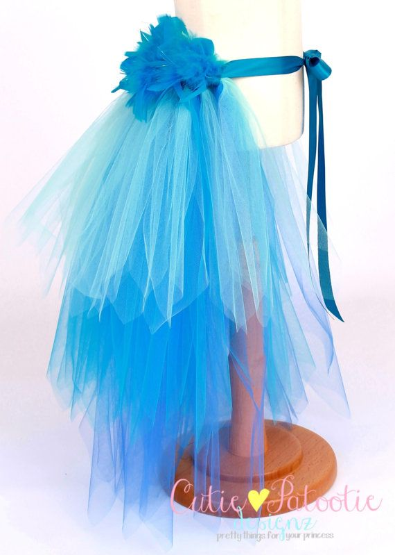 Jungle Jewel - Bird Tail Bustle Belt - Blue Macaw Costume Accessory  - Toddler to Youth Size - Cutie Patootie Designz
