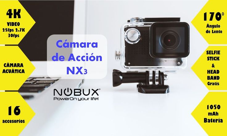 Cámara de acción Nobux NX3 4K a S/.439 soles. Incluye 16 accesorios + Head Band y Selfie Stick. Lente de 170 grados, acuática. Estamos también en Mall Aventura Santa Anita #gopro #actioncamera #4K #camaradeaccion #hero4 #mallaventura
