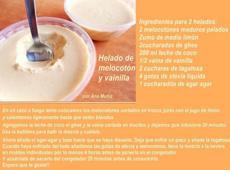 #Helado de melocoton y vainilla Receta #lowcarb apta para diabéticos