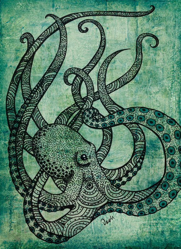octopus - the colors in this are beautiful! ..Inspired for a project with a series of patterned animals in monochrome.