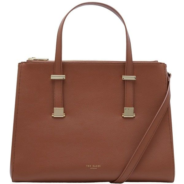 Ted Baker Alunaa Pebble Grain Leather Large Tote Bag ($260) ❤ liked on Polyvore featuring bags, handbags, tote bags, camel, ted baker tote bag, brown tote handbags, brown tote purse, handbags totes and ted baker tote