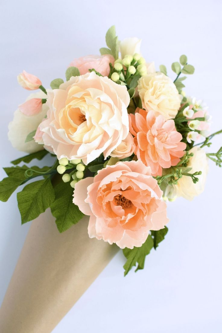 Peaches & Cream Bouquet and Arrangement from Crafted to Bloom, Paper Floral Designs #paperflowers #craftedtobloom #peony #dahlia #ranunculus #carnation #seededeucalyptus #rose
