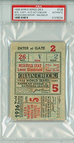 1936 World Series Giants at Yankees - Game 5 Ticket Stub NYG 5-4 (10) HR Selkirk [Grades GOOD, creasing, surface wear, sl paper loss on rev corner] by Mickeys Cards ** More info could be found at the image url.