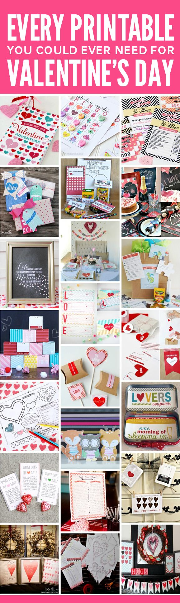 "I've just printed off coloring placemats for my kiddos, the ""Choose Your Own Valentine Adventure"" booklet and love coupons for my hubby, and a gift card holder for the teachers. And that's just part of 4 of the 22 printable packs included! I'm pretty sure it's going to take me SEVERAL Valentine's Days to get to use all of these goodies! At less than thirteen cents per page, you NEED to snag this V-day deal!"