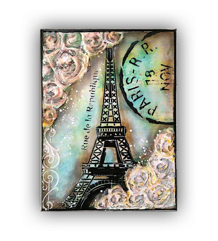 paris eiffel tower mixed media tutorial nika in wonderland + full list of supplies