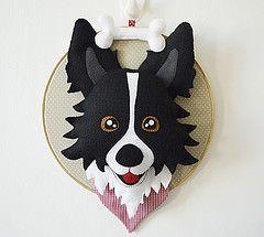 Enfeite Border Collie (Meia Tigela flickr) Tags: dog collie handmade border artesanato artesanal craft felt cachorro porta feltro parede enfeite personalizado decoranao