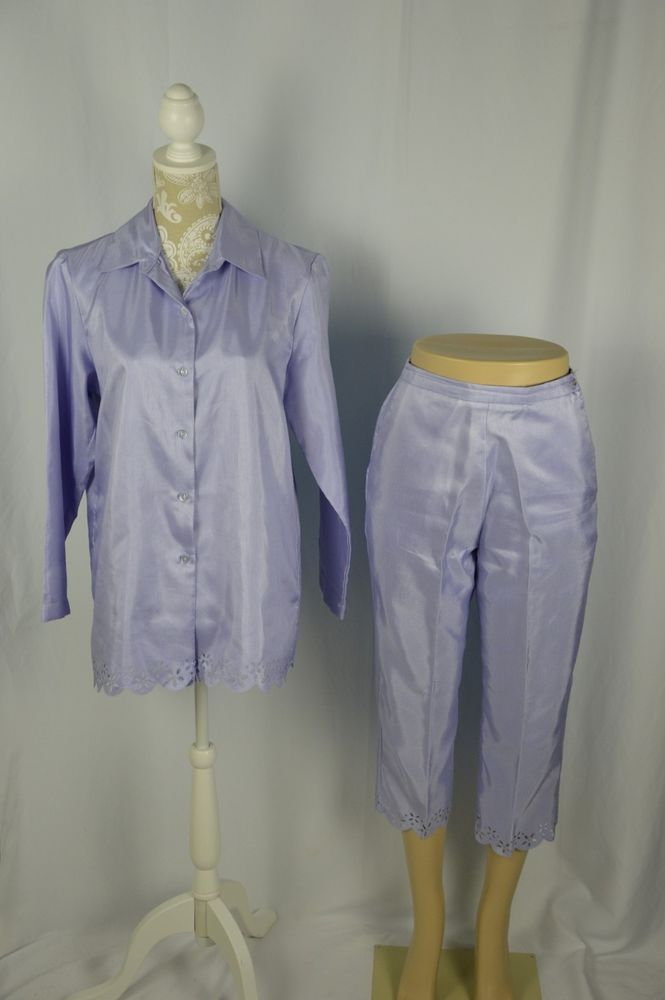 Style Studio Womens Small Medium Shiney Purple Cropped Capri Pant Suit Set  | eBay