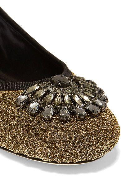 Jimmy Choo - Grace Crystal-embellished Textured-lamé Ballet Flats - Gold - IT37