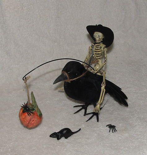 Halloween Miniature Skeleton Getting A Ride on A Crow OOAK Artist Dollhouse   eBay