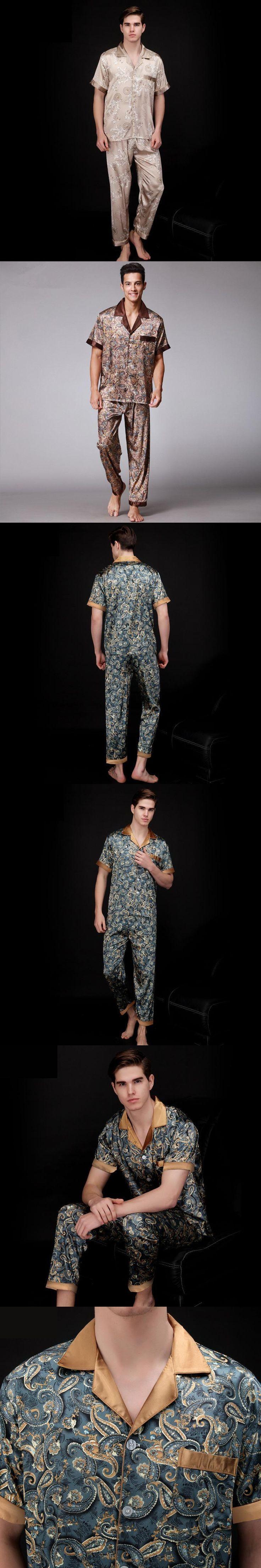 Paisley Silk Pajamas Men Summer Short Sleeve Satin Sleepwear Male Plus Size plus size Dressing Gown Nightgown