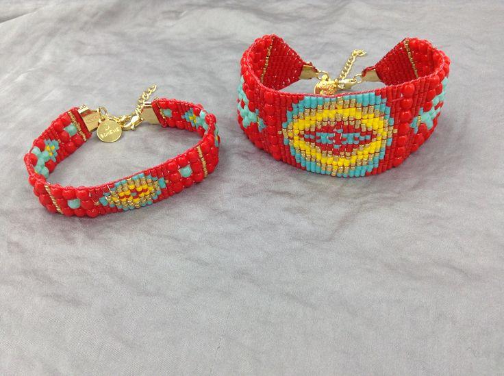 1. Ręcznie tkana koralikowa bransoletka Słońce Azteków - wersja standardowa 2. Szeroka ręcznie tkana koralikowa bransoletka Słońce Azteków