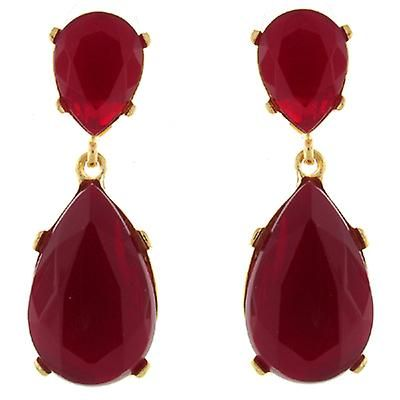 Kenneth Jay Lane Red Opal Crystal Teardrop Earrings