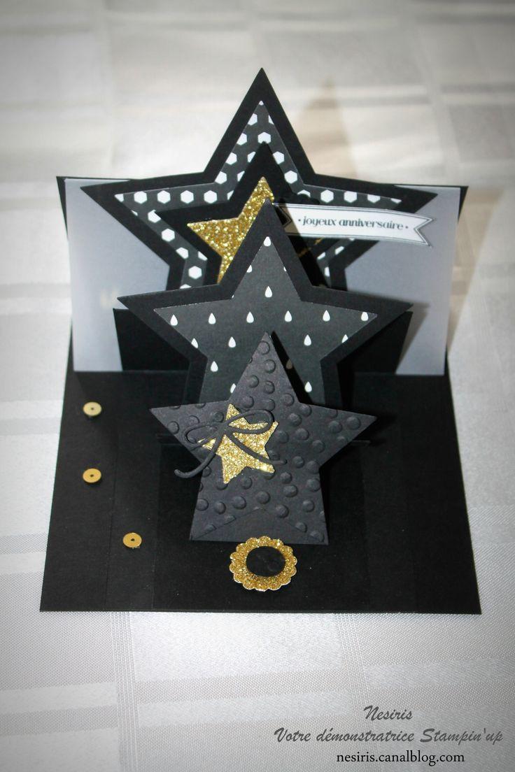 Carte étoiles pop up - Stampin'up - Katia Nesiris
