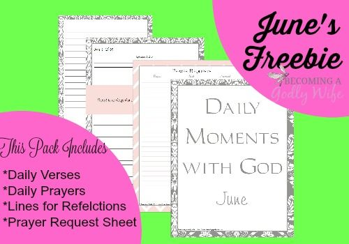 FREE PRINTABLE Daily Moments with God -June This contains daily Bible verses, daily prayers, lines for reflection and a prayer request sheet. Great to use for your Bible study, prayer time or War Room! @childressclan