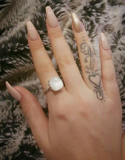 awesome Long acrylic coffin nails nude champagne gold chic...