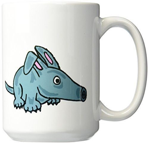 3dRose mug_200079_2 Funny Cute Blue Aardvark Cartoon Ceramic Mug 15Ounce * Want to know more, click on the image.