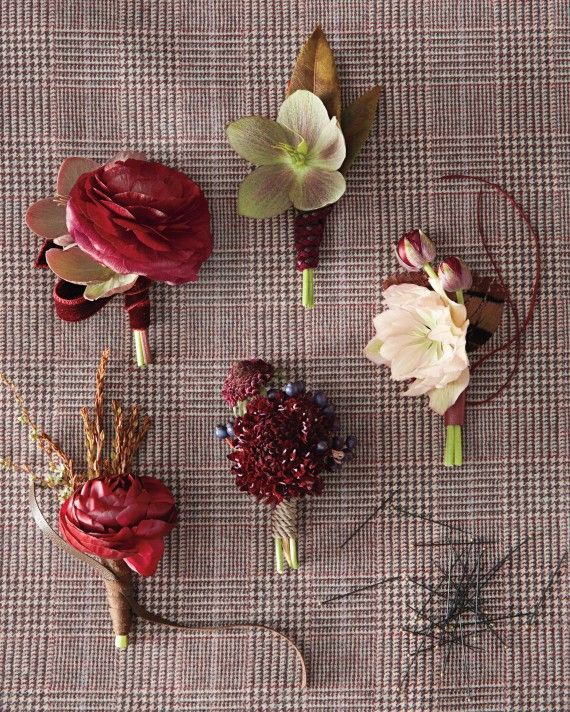 Simple and striking, these two-piece boutonnieres are blooming handsome. Clockwise from left: Ranunculus takes center stage to a hellebore and a swath of velvet ribbon; Braided leather binds a hellebore to an andromeda leaf; A tiny ranunculus meets andromeda by way of leather tape; Introduce scabiosa to tiny blue viburnum berries via silk cord; Hellebores and ranunculus join forces with leather tape.Ribbon accents from Mokuba New York.