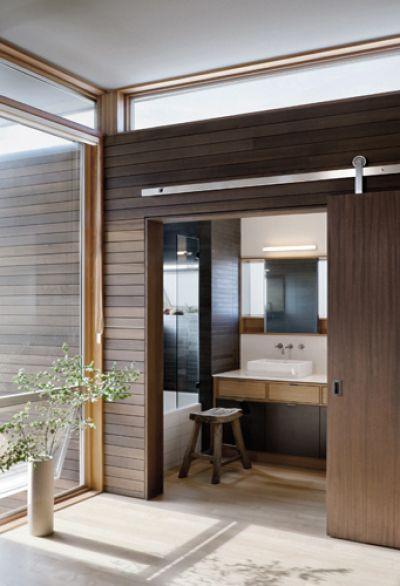 sliding door, wood wall