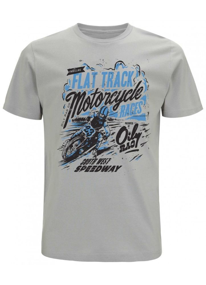 Oily Rag Flat Track Race T Shirt Motorcycle Biker Tee Cafe racer Grey Size Large