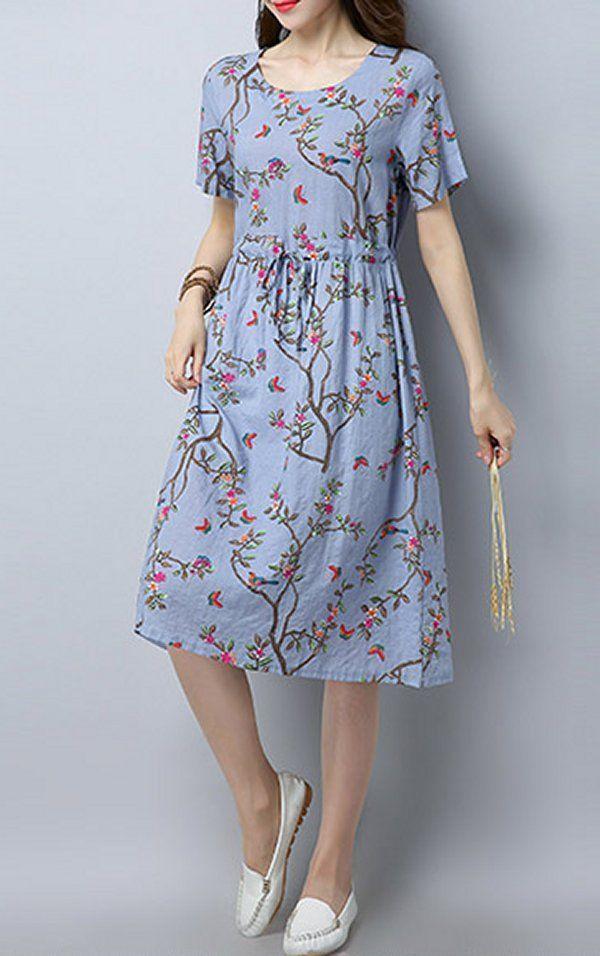 Frauen locker Kleid Blume Tunika Kurzarm Größe Kordelzug lässig