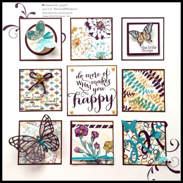 Bohemian Sampler in Blackberry Bliss, Bermuda Bay and featuring sneak peek of Bohemian DSP, Delightful Dijon in-color, and Blossom Accents - Stampin' Up! Ann Lewis, Independent SU demo, Australia.  Includes  FREE downloadable tutorial.