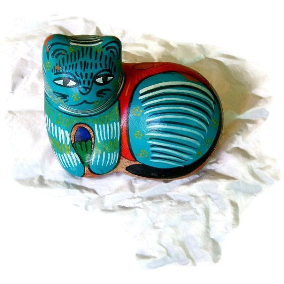 Hispanic Cat Resting, Red Clay Painted Turquoise, back tells Story of Hispanic Life, Colorful Folk Art Piece, Summer Sale, Gift for Friend