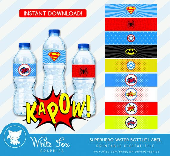Superhero Water Bottle Labels INSTANT by WhiteFoxGraphics on Etsy