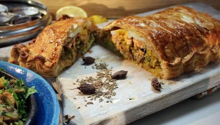 Salmon coulibiac. This rice, egg and salmon-stuffed fish pie makes a wonderful centre-piece for a dinner party and is easy to make and prepare in advance