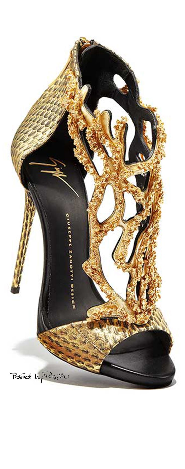 ~Guiseppe Zanotti Gold Coral Stiletto #shoes #beautyinthebag #heels