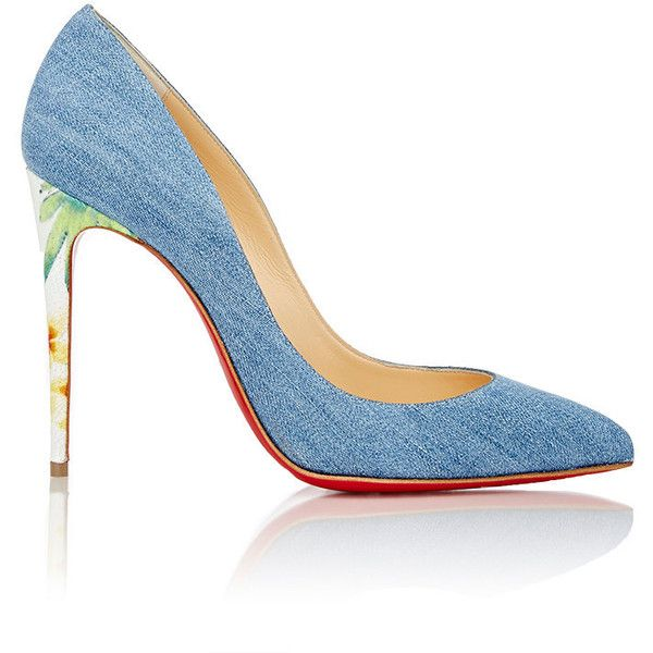 Christian Louboutin Women's Pigalle Follies Pumps ($695) ❤ liked on Polyvore featuring shoes, pumps, heels, denim, louboutin, blue, slip-on shoes, christian louboutin shoes, denim pumps and stiletto heel pumps