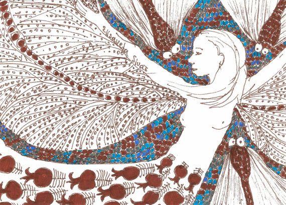 Original line drawing GIRL FLYING // small by elisavetasivas