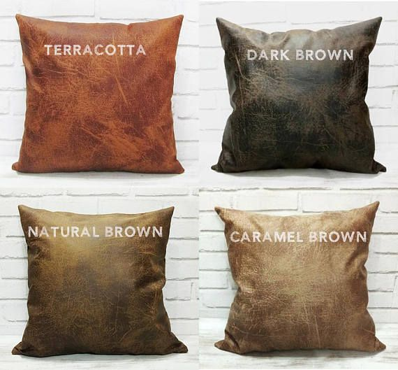 Modern 4 color brown vegan leather fabric pillow cover -1 pcs Leather-looking soft touch new generation leather fabric. *Color :brown vegan leather fabric *This is a made to order item. Please allow 2-4 days from receipt of payment before your order is shipped. *The listing is for one