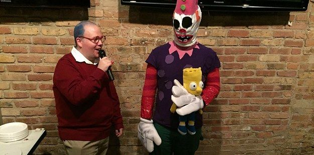 "The contest winner: Bart's terrifying clown bed. Can't sleep, clown'll eat me. | These ""Simpsons"" Fans' Costumes Are Insanely Clever And Detailed"