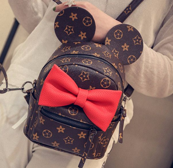 Disney Mickey Minnie Ears & Red Bow Mini Backpack- * Limited Edition