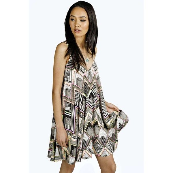 Boohoo Petite Amy Neon Aztec Swing Dress ($14) ❤ liked on Polyvore featuring dresses, trapeze dress, swing dress, neon dress, aztec pattern dress and boohoo dresses