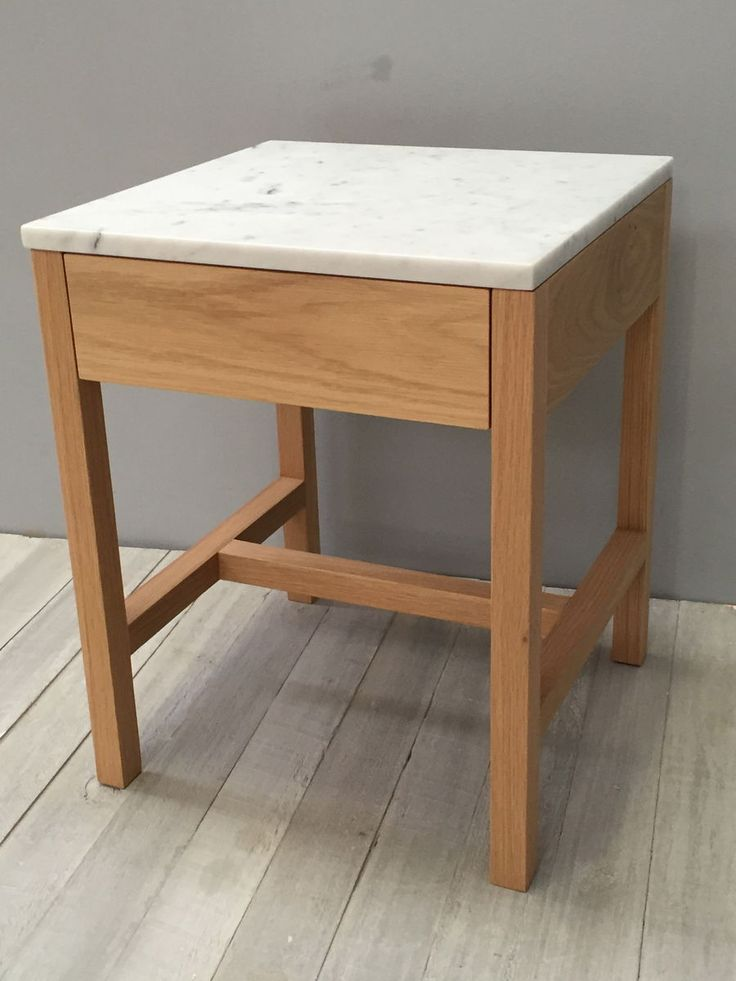 marble and american oak sidetable with single drawer - product image