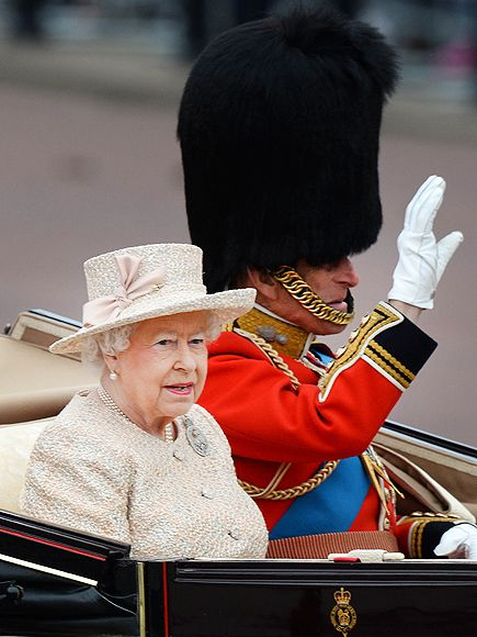 Kate's Back! The Best Photos from Trooping the Colour | Queen Elizabeth and Prince Philip | The Queen and Prince Philip, Duke of Edinburgh, who recently celebrated his 94th birthday, wave to the crowds as they leave Buckingham Palace for Trooping the Colour.